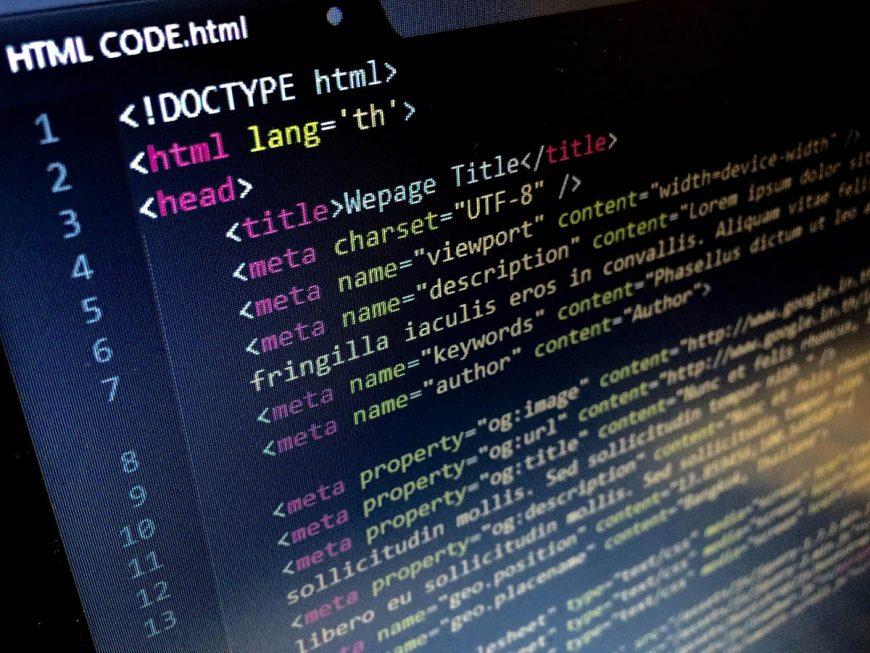computer screen showing html code