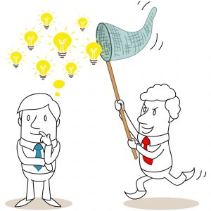 Illustration depicting a man with idea light bulbs floating over his head while another man captures the ideas in a butterfly net